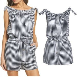 TORY BURCH Blue Gingham Check Romper NWT